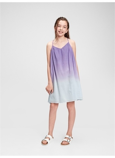 Gap Renk Geçişli Elbise Mor